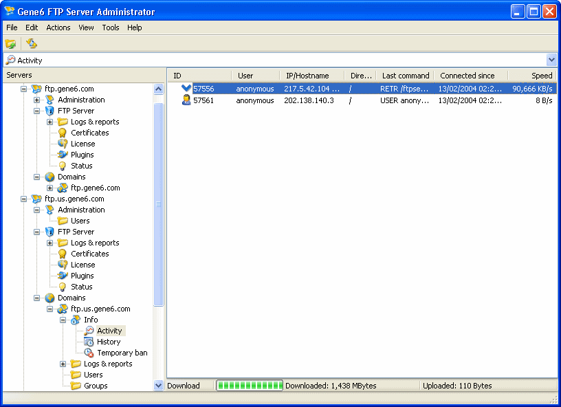 Click to view Gene6 FTP Server 3.10.0 screenshot